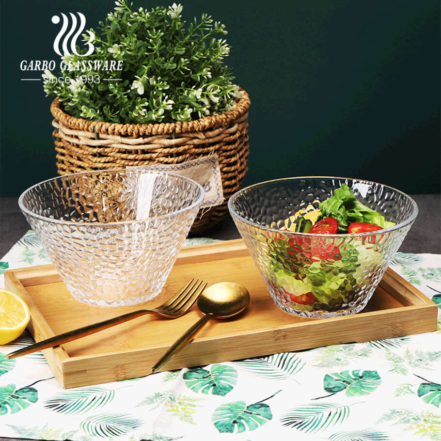 5 inch round hammer pattern glass fruit salad bowl with customized design for dinner table for supermarket