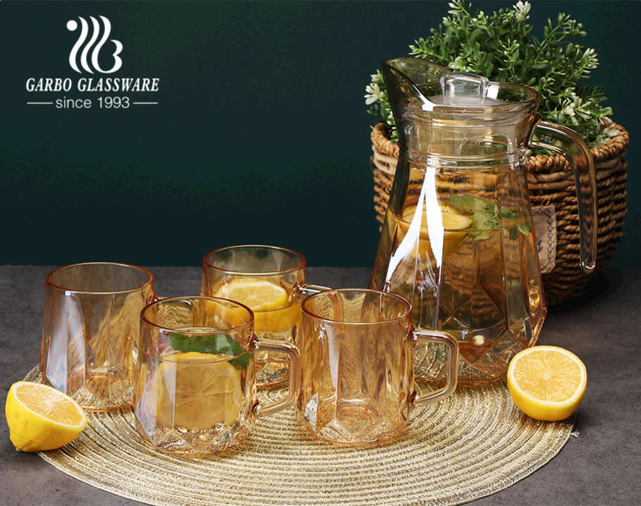 5 PCS High End Ion Plating Dishwasher Safe Glass Water Jug Set Customized 1200ml Pitcher and 300ml Mug Set for Table Decoration