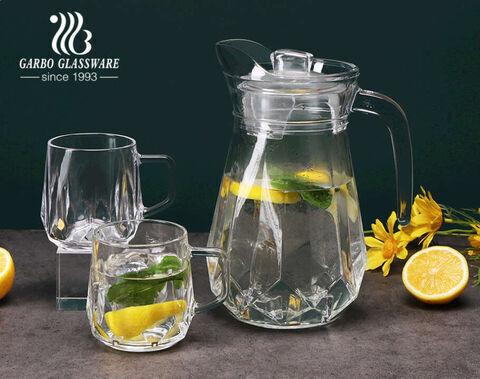 Big Diamond Design Clear Glass Water Caraffe Set 3 PCS Glass Jug Set with Plastic Lid 1 Jug 2 Mugs  for Wholesale