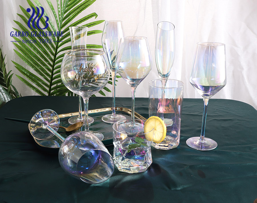 Handmade Shining Rainbow Color Champagne Glass Flutes Goblet