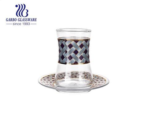 Decal vàng sáng bóng 7oz Bộ cốc và đĩa thủy tinh trà đen Thổ Nhĩ Kỳ