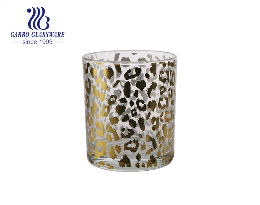 Wholesale Clear glass decal candle holder candle jar tealight holder with printing