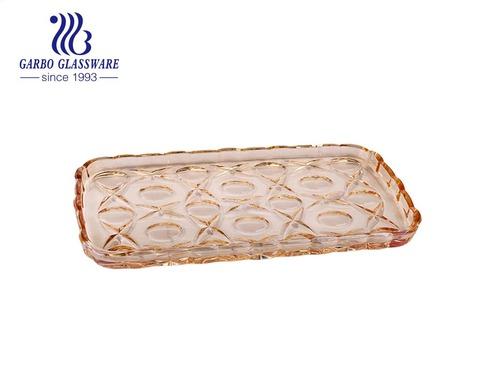 エレガントなイオンプレーティングディナーキッチンガラスプレートカスタマイズされた豪華なテーブル装飾ガラスプレート