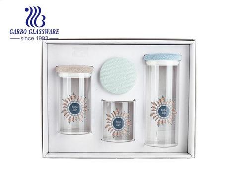 High-white 3 pcs high borosilicate storage jar set with customized design cloth lid
