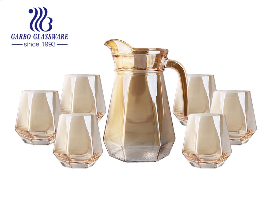Wholesale machine-made ion-plating golden color 6 pcs glass water drinking jug set