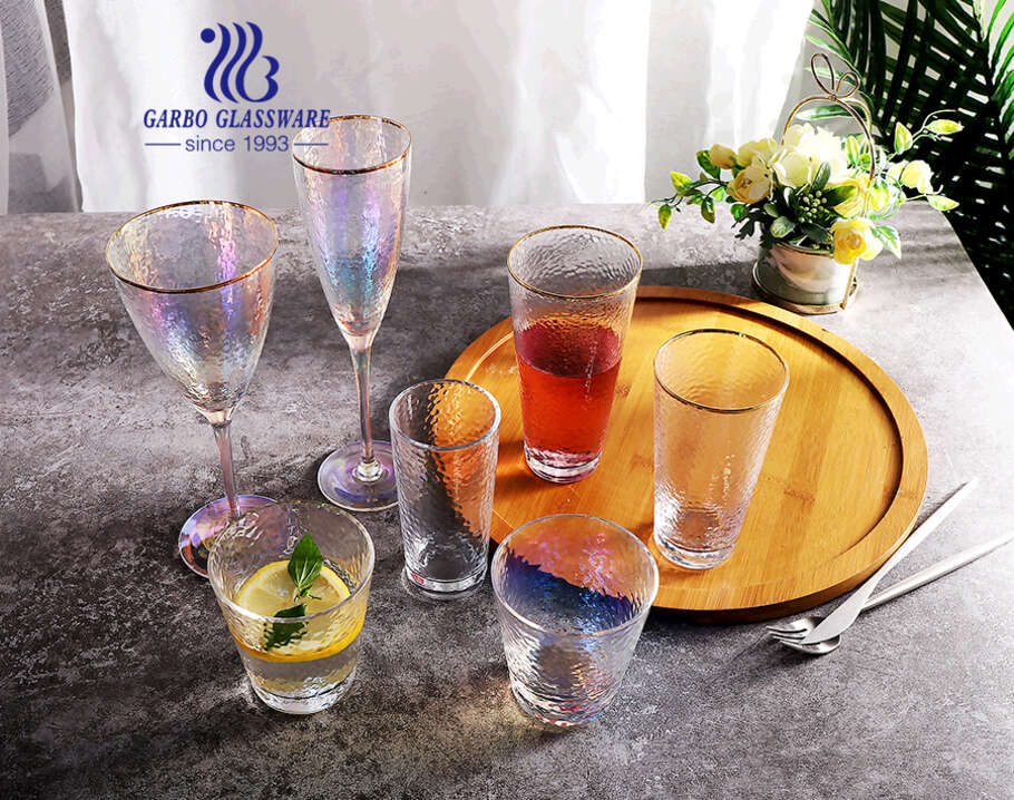 Mouth Blowing Ion Plating Rainbow Color Wine Glass Cup with Long Stem