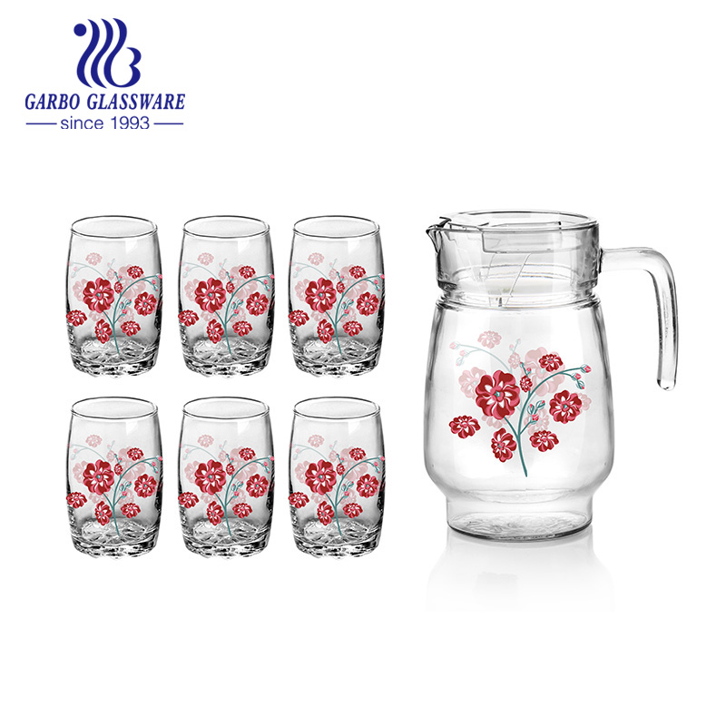 7pcs frosted and decals glass drinking set for water juice with high quality