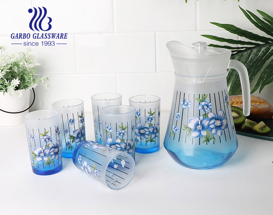 7pcs purple color flower glass drinking set for home using with high quality