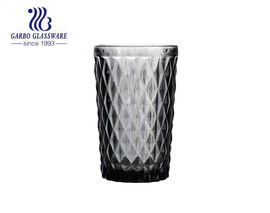 350ml high quality black solid color glass tumblers for water drinking