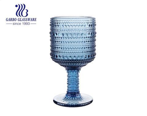 300ml blue dot design glass goblets for wine drinking