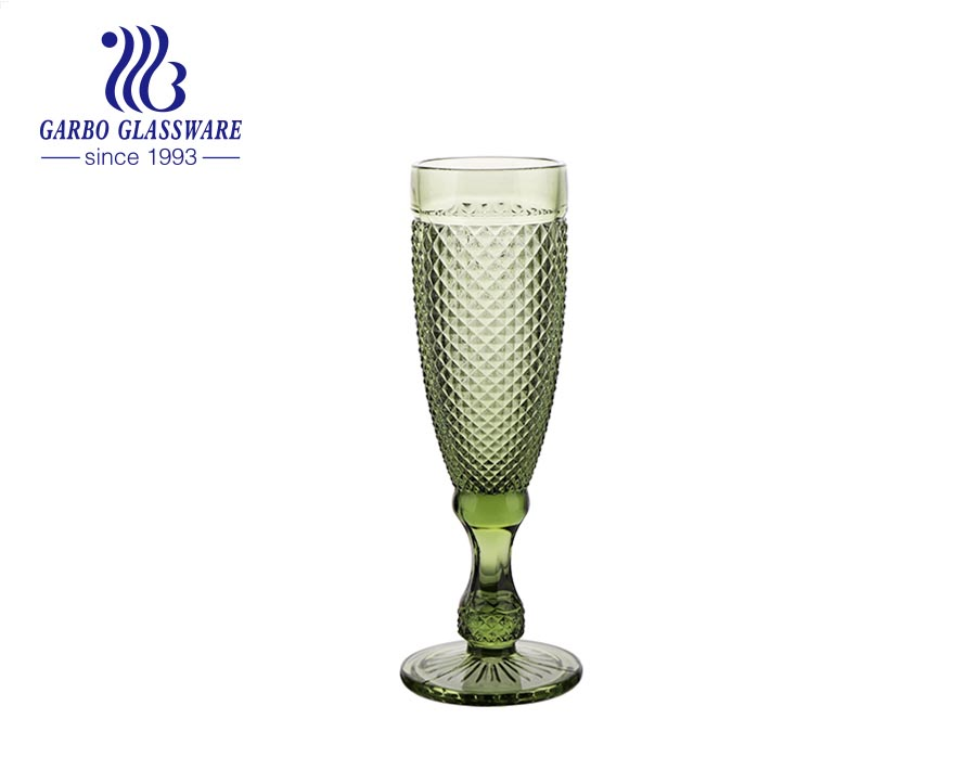 5oz green color classic champagne goblets glassware for wedding