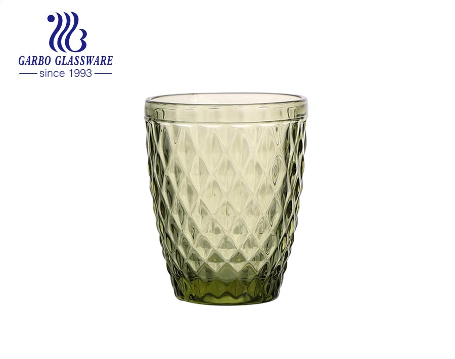 270ml green color water drinking glass tumblers for hotel