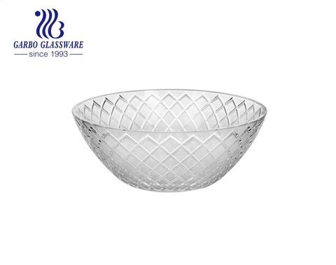 スーパーマーケットのディナーテーブル用にカスタマイズされたデザインの5インチラウンドハンマーパターンガラスフルーツサラダボウル