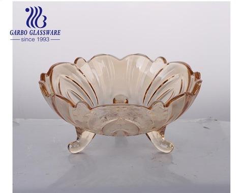 メーカー安い大きな琥珀色イオンプレーティング装飾フルーツガラスボウル