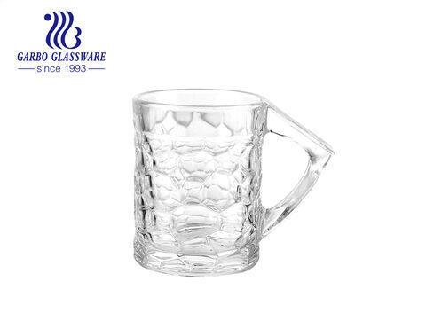 175ml hoa văn độc đáo cốc bia thủy tinh cổ phiếu cốc bia trong suốt với tay cầm tam giác