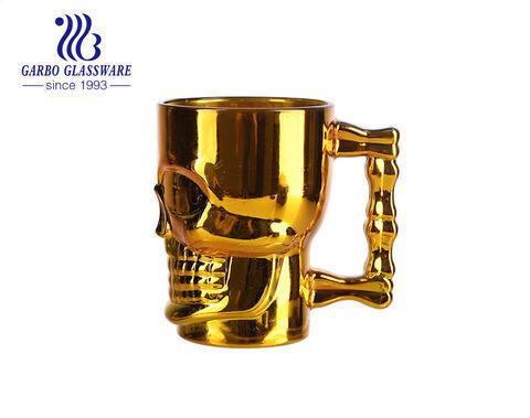 520ml hình đầu lâu cốc bia với màu sắc mạ điện vàng bạc hoa hồng vàng màu cốc bia