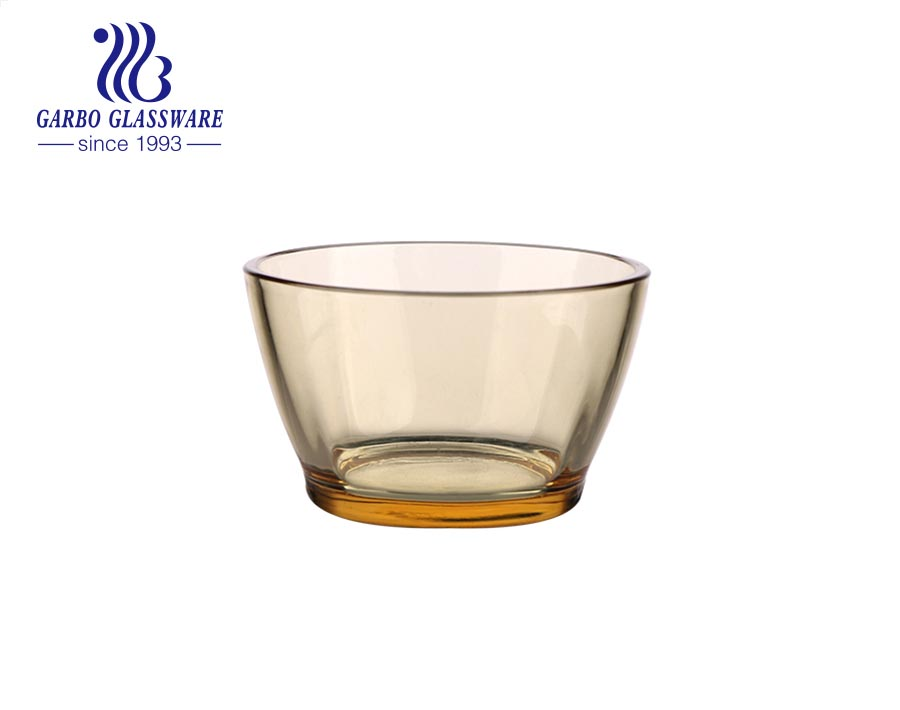 12oz high quality glass bowls for home restaurant using amber solid color