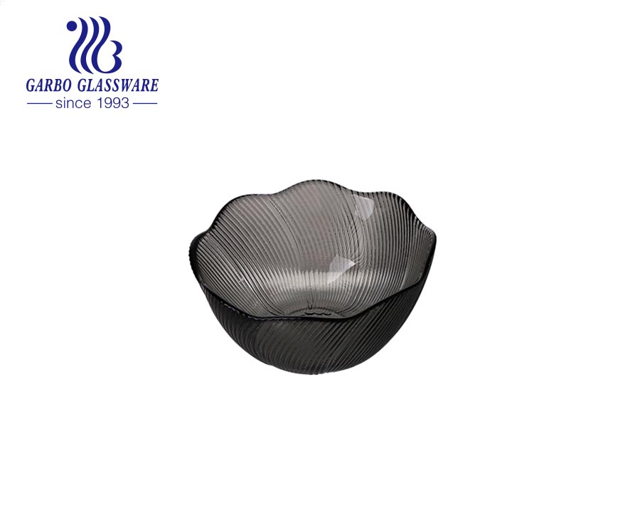300ml high quality black color glass bowls for salad kitchenware