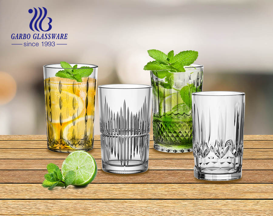 Garbo Glassware exclusive 4 mold designs engraved glass cups