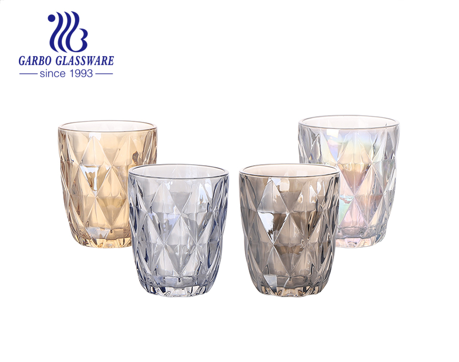 Europe and Latin America markets rhombus engraved glass cups with custom unfading colors