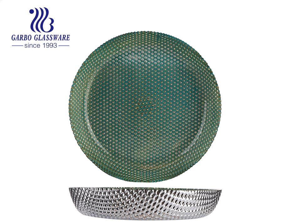 The Electroplate Green Colored Home Decorative Green Color with Golden Dot Decor Glass Dish Charger Plate Wedding