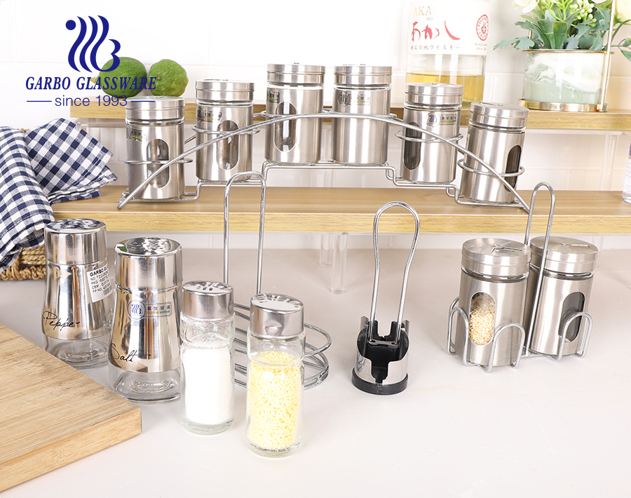 8pcs glass condiment set 85ml condiment bottle with metal stand