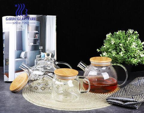 480ml pyrex borosilicate glass tea pot with wooden lid for hot tea